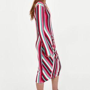 Zara Dresses - 🎉HP🎉 NWT Zara long sleeve rainbow stripe dress S